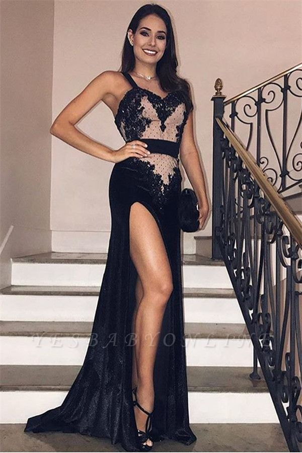 Glamorous Spaghetti Straps Side-Slit Black Velvet Prom Dresses | Black Evening Gown