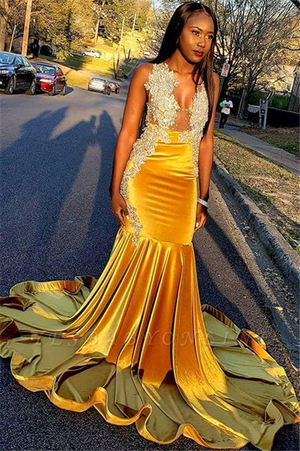 Gorgeous Yellow Velvet V-Neck Sleeveless Sexy Mermaid Prom Dress