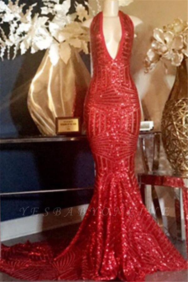 Glamorous Halter Sequins V-Neck Sexy Mermaid Prom Dresses