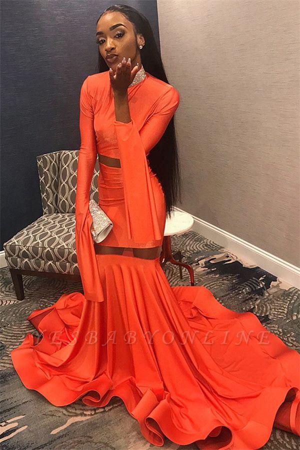 Sexy Orange Long-Sleeves High-Neck Sexy Mermaid Long Prom Dress