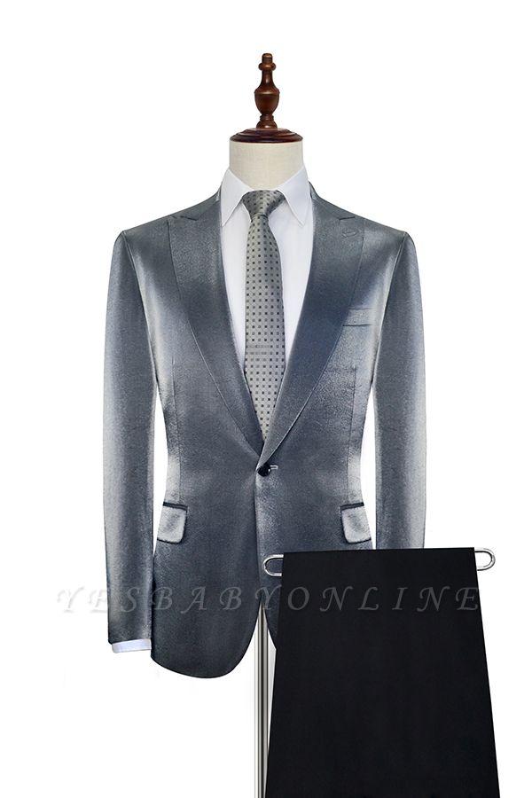 Hot Recommend Grey Velvet Custom Wedding Suit For Groom | Peak lapel Single Breasted 2 Pocket Formal Men Suits