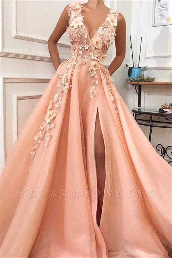 Glamorous Straps V-Neck Flower Appliques Prom Dress with a leg Slit   Chic Long Evening Dresses