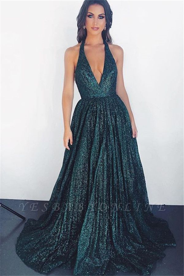 Glamorous Dark Green Halter Sleeveless A-Line Prom Dress