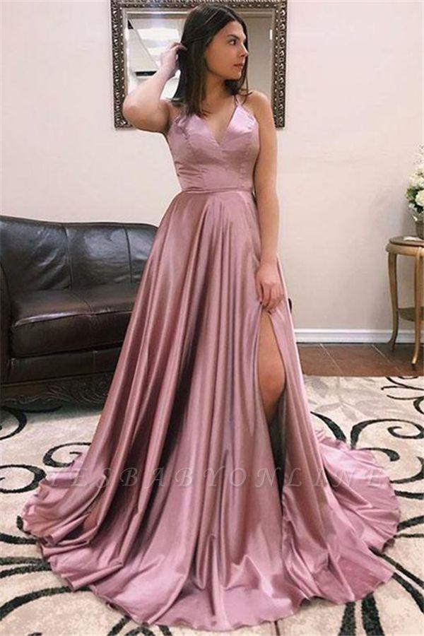Sexy V-neck Sleeveless Front Slit Long Prom Dresses
