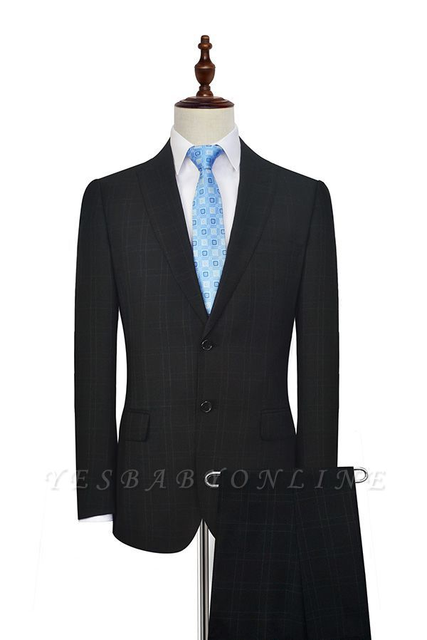 Black Plaid Two Standard Pocket Custom Suit For Formal | Fashion Peaked Lapel Single Breasted Wedding Groom Suits