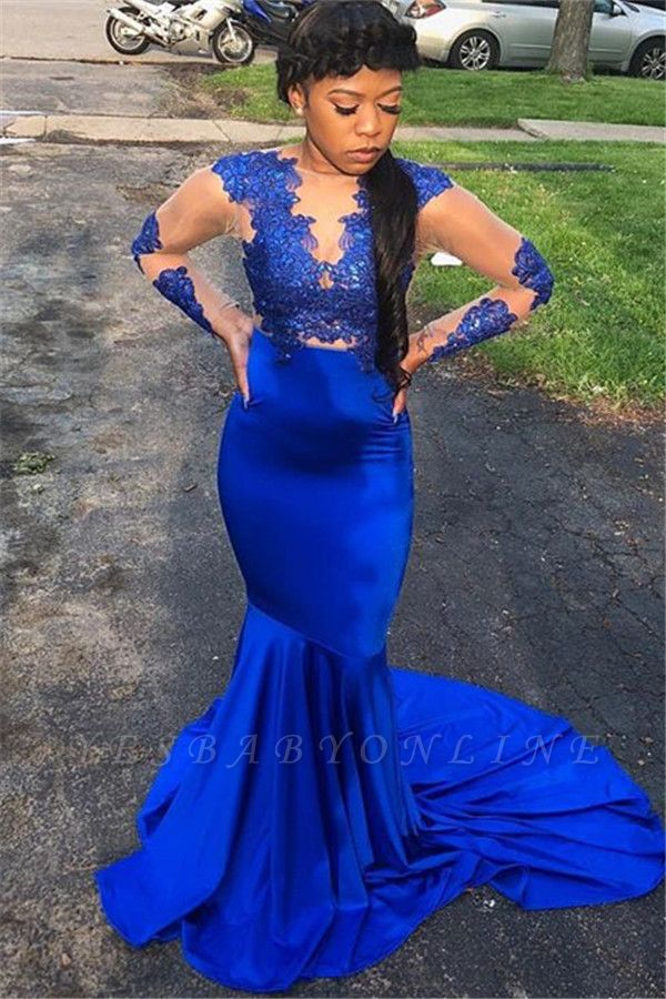 Royal Blue Long-Sleeves Appliques Sheer  Mermaid Evening Gown