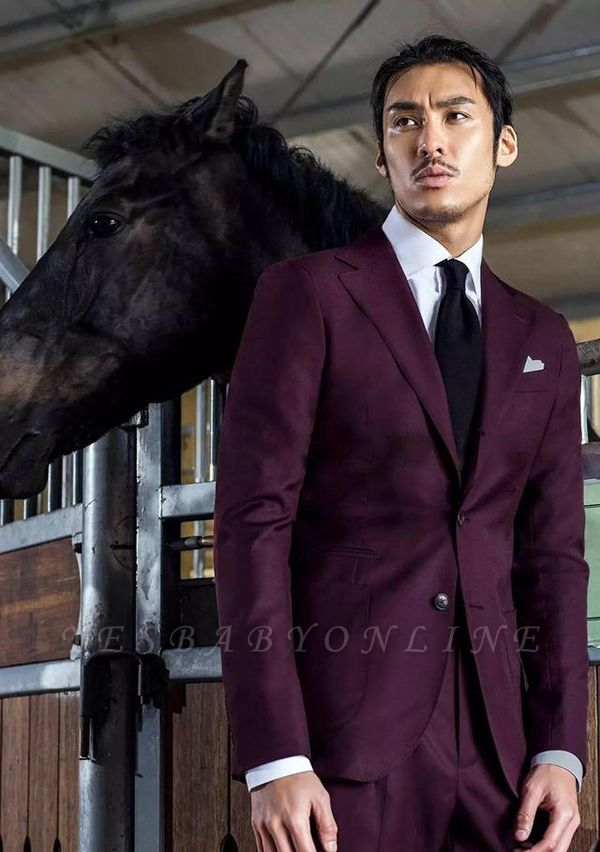 2019 Burgundy Wool Two Button Custom Wedding Suit For Groom   Single Breasted 2 Pocket Notched Lapel Business Suit