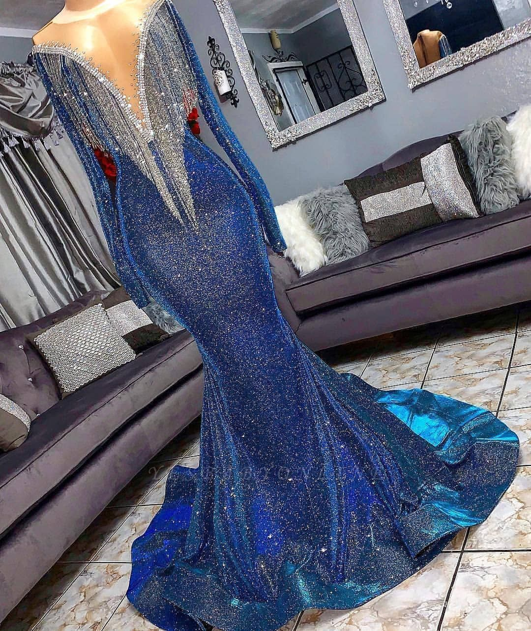 Luxurious Sequins Long Sleeves Sexy Mermaid Sheer Neckline Prom Dresses