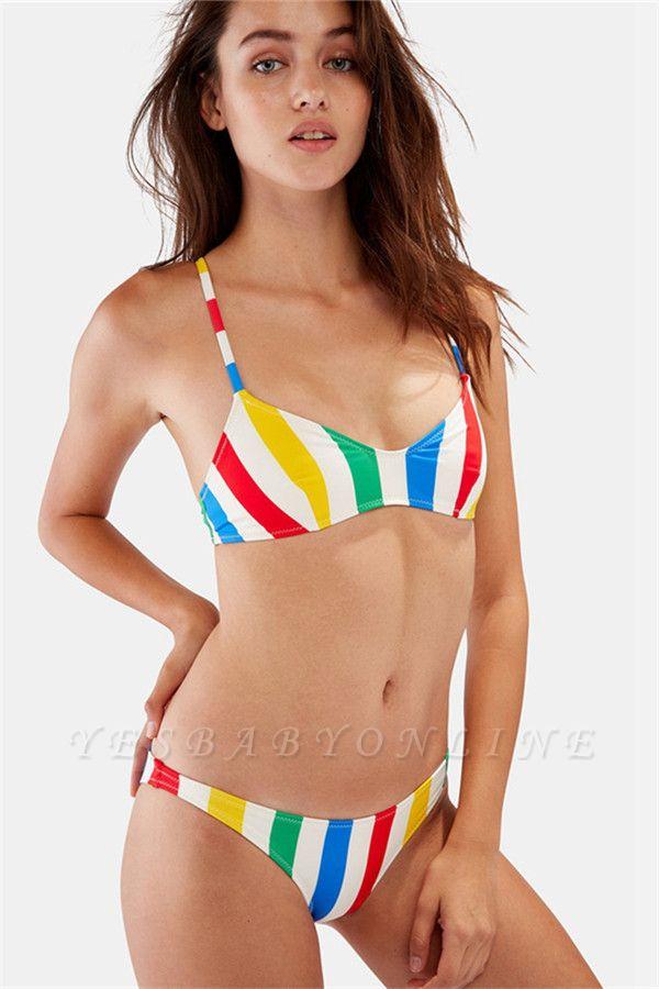 Colorful Stripes Spaghetti Straps Two Piece Sexy Bikini Set