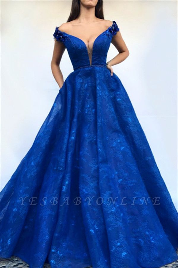 Royal Blue Off-The-Shoulder Appiques A-Line Prom Dress