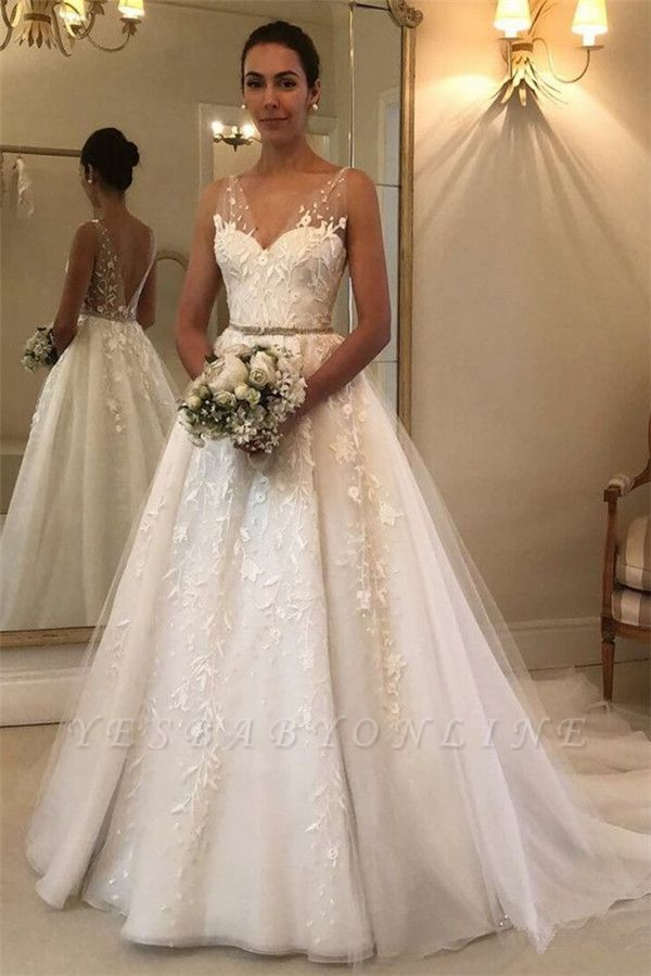 Glamorous Straps Applique Wedding Dresses with ribbons