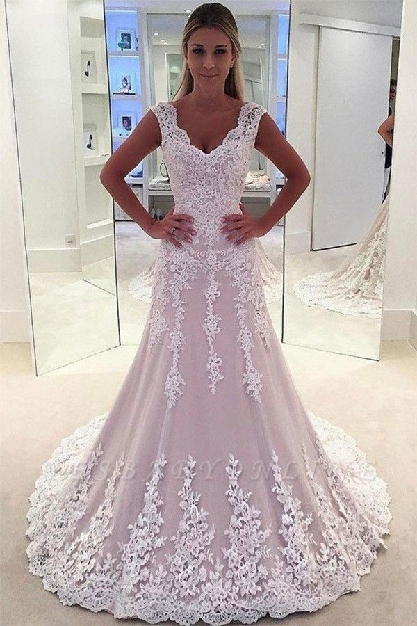 Lovely Pink Lace Appliques Wedding Dresses