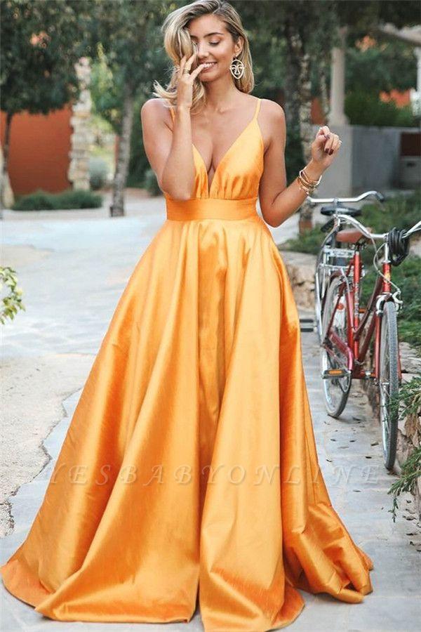 Gorgeous Orange Spaghetti-Straps Sleeveless V-Neck  Prom Dress
