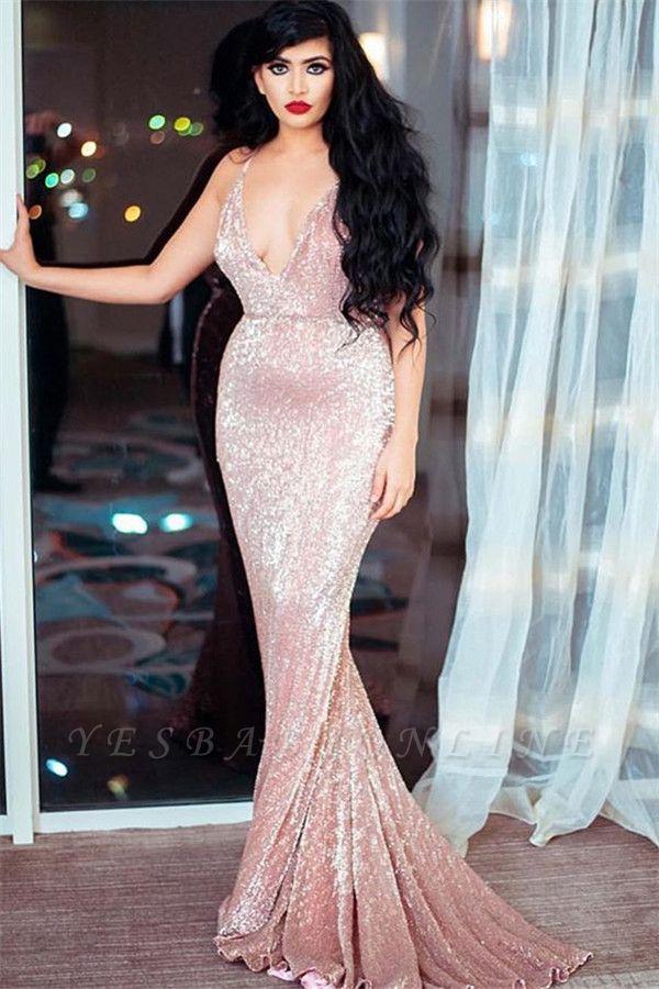 Sexy Spaghetti-Straps V-Neck Sleeveless Sequins Sexy Mermaid Prom Dress