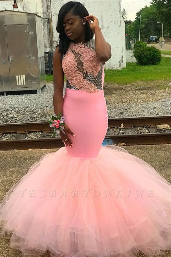 Pink Sleeveless Appliques Backless Mesh Sexy Mermaid Prom Dresses