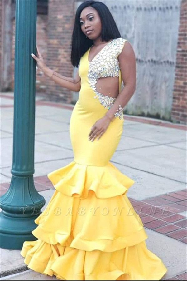 Gorgeous Yellow Straps V-Neck Crystal Ruffle Sexy Mermaid Prom Dress