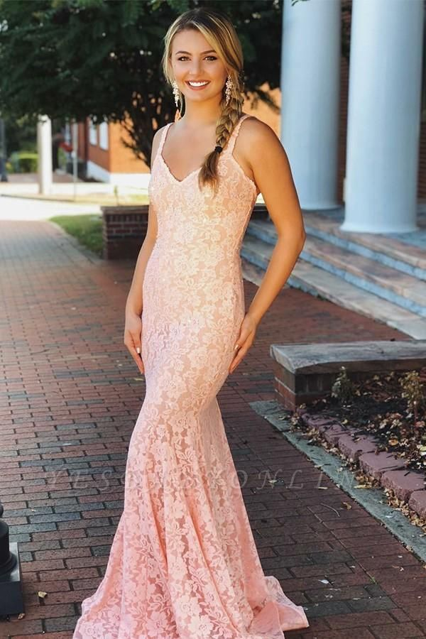 Gorgeous Pink Lace Spaghetti-Straps Sexy Mermaid Prom Dresses
