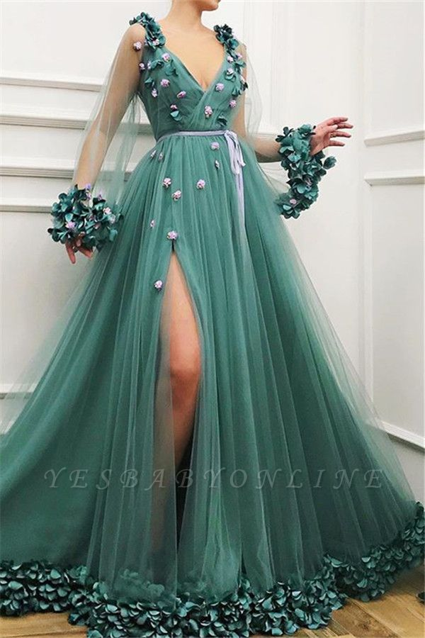 Glamorous Green Long-Sleeves Mesh Side-Slit  Prom Dress