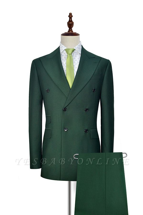 Green Double Breasted Tailored Suit For Formal   Peaked Lapel 3 Pockets Custom Made Causal Suit
