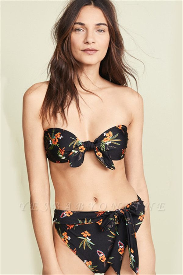 Detachable Straps Sweetheart Floral Black Sexy Bikini Sets