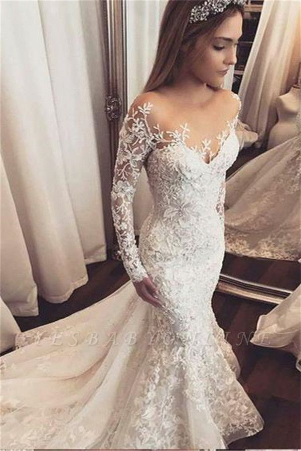 Fashionable Off-the-Shoulder Beaded Lace Appliques Wedding Dresse