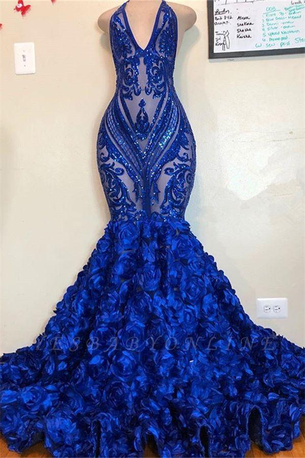 V-neck Halter Sequins Pattern Floral Sweep Train Prom Dresses