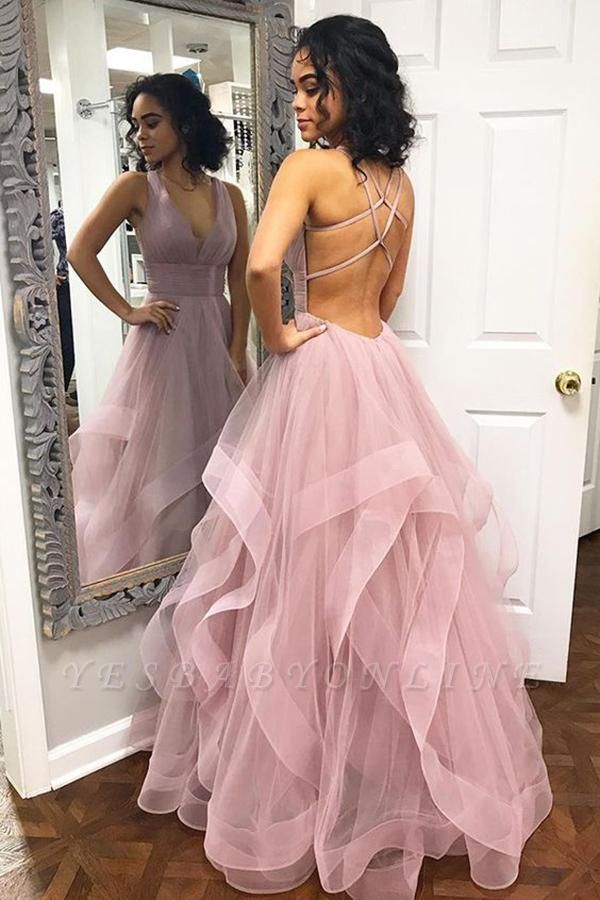 Sexy Pink Halter Ruffle A-Line Prom Dresses