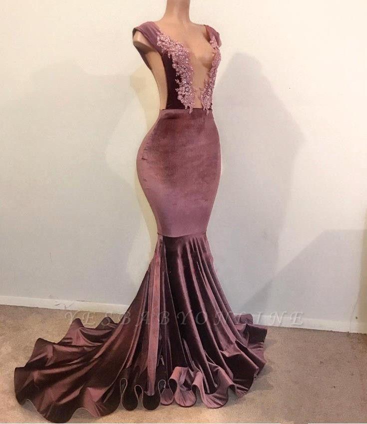 Sexy Mermaid Sleeveless Floor Length Appliques Velvet Prom Dresses