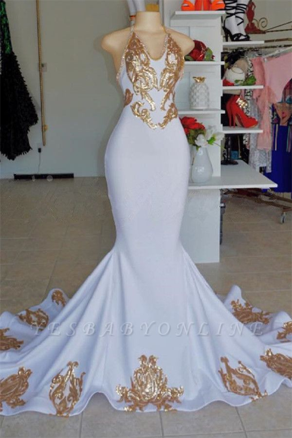 Halter V-Neck Sleeveless Gold Appliques Prom Dress