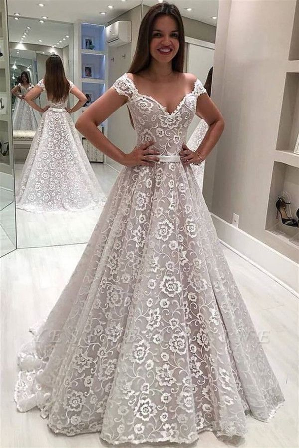 Fashion Lace Off-the-Shoulder Ruffles Pearls Wedding Dresses