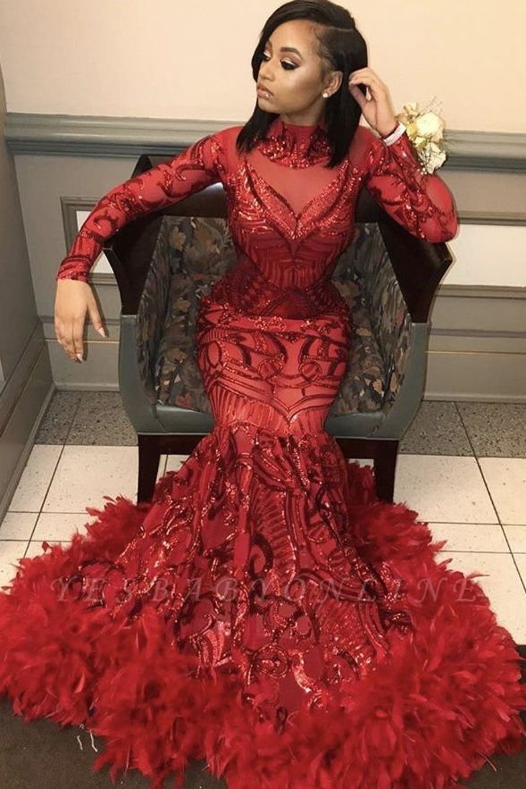 Burgundy Sexy Mermaid Sequins Long Sleeves High Neck Prom Dresses
