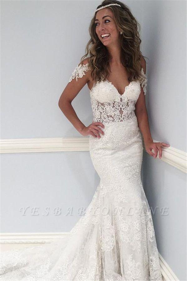 Stunning Lace V-Neck Wedding Dresses | Ruffles Cap Sleeves Floral Bridal Dresses