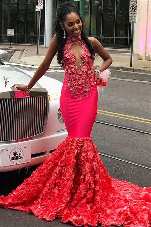 Glamorous Halter Flower Applique Sleeveless Long Prom Dress
