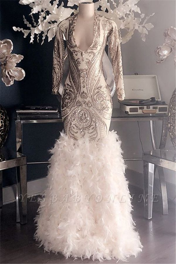 Glamorous Appliques Fur V-Neck Long Sleeves Sexy Mermaid Prom Dresses