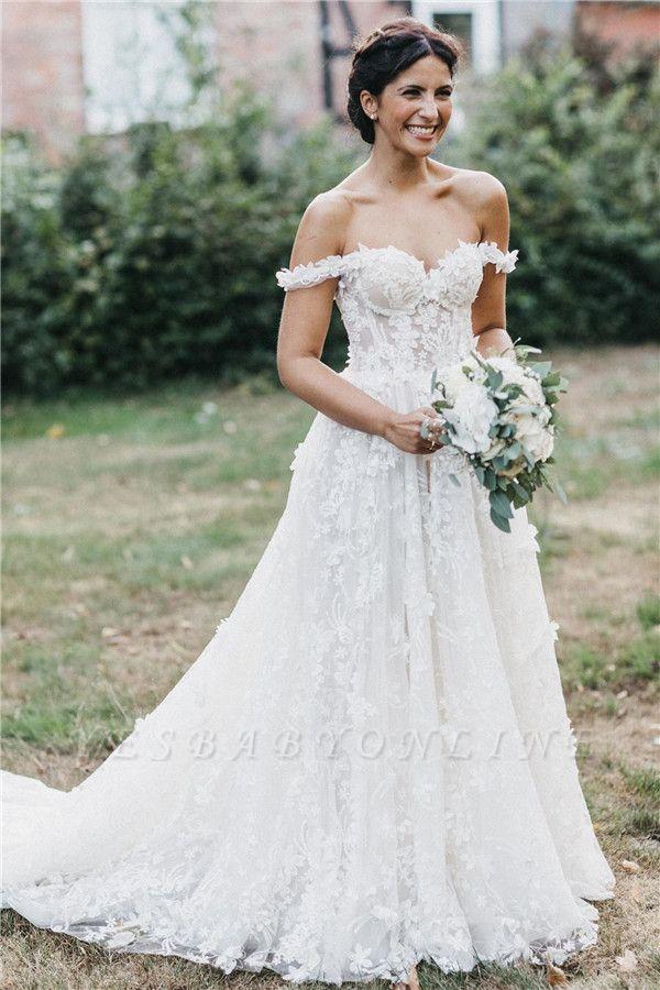 Flowers Off-the-Shoulder Wedding Dresses   Lace Appliques Floral Bridal Dresses