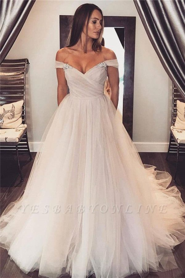 Glamourous Crystal Wedding Dresses with Ruffles