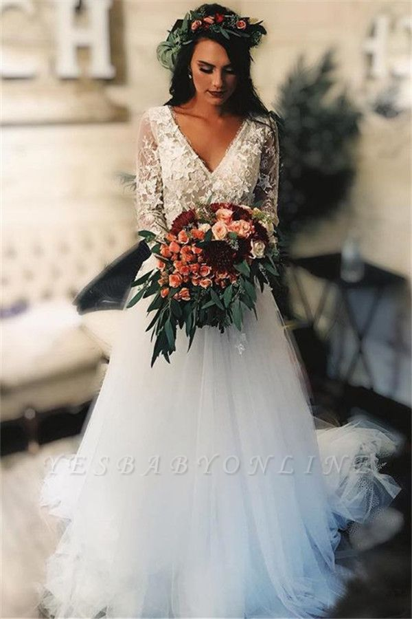 Long Sleeves Wedding Dresses for Fall and Winter | V-Neck Applique Bridal Gown