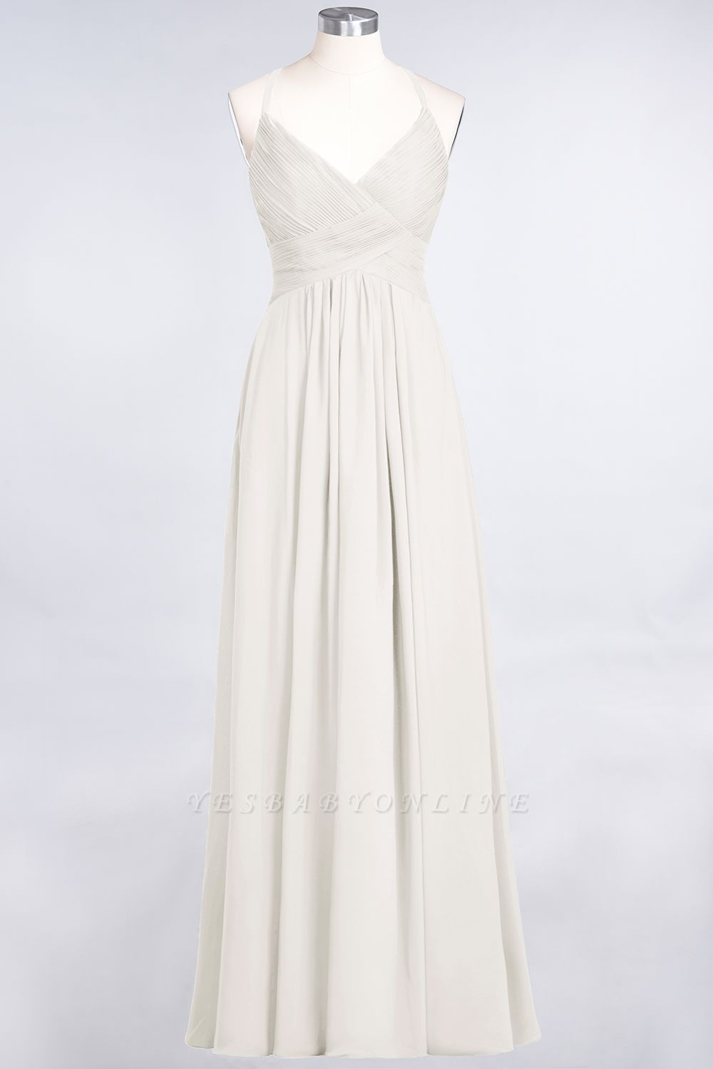 A-Line Spaghetti-Straps V-Neck Sleeveless Floor-Length  Bridesmaid Dress with Ruffles