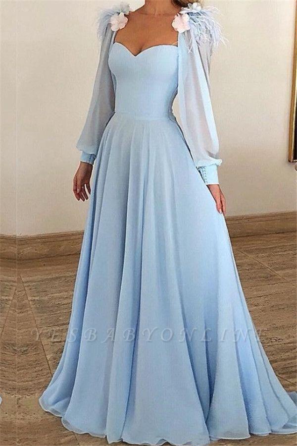 Blue Flower Appliques Fur A-Line Prom Dresses