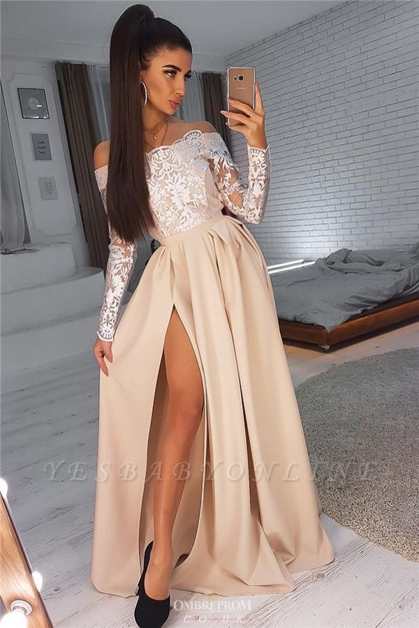 Off-The-Shoulder Long Sleeves Side Slit A-Line Evening Gownes