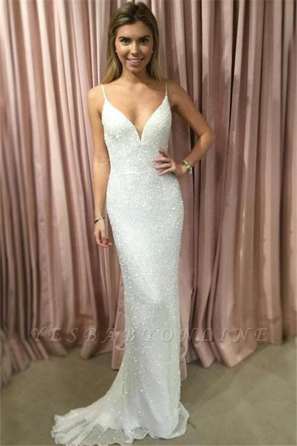 Glamorous Spaghetti-Strpas Sexy Mermaid Prom Dresses