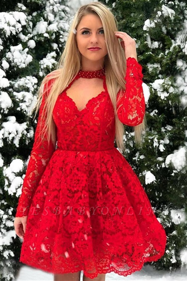 Red Lace Long Sleeves A-Line Short-Length Homecoming Dresses