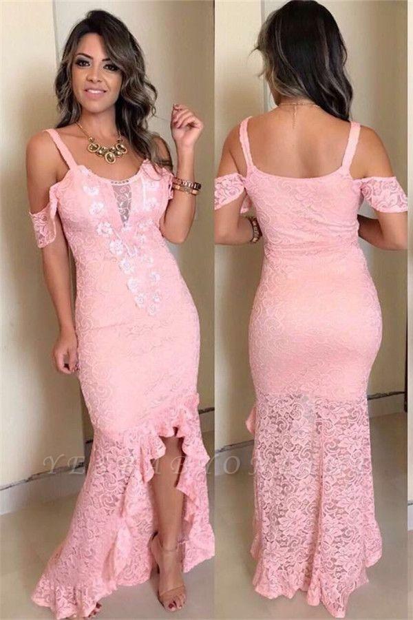 Pink Lace Appliques Off-The-Shoulder Hi-Lo Sexy Mermaid Prom Dresses