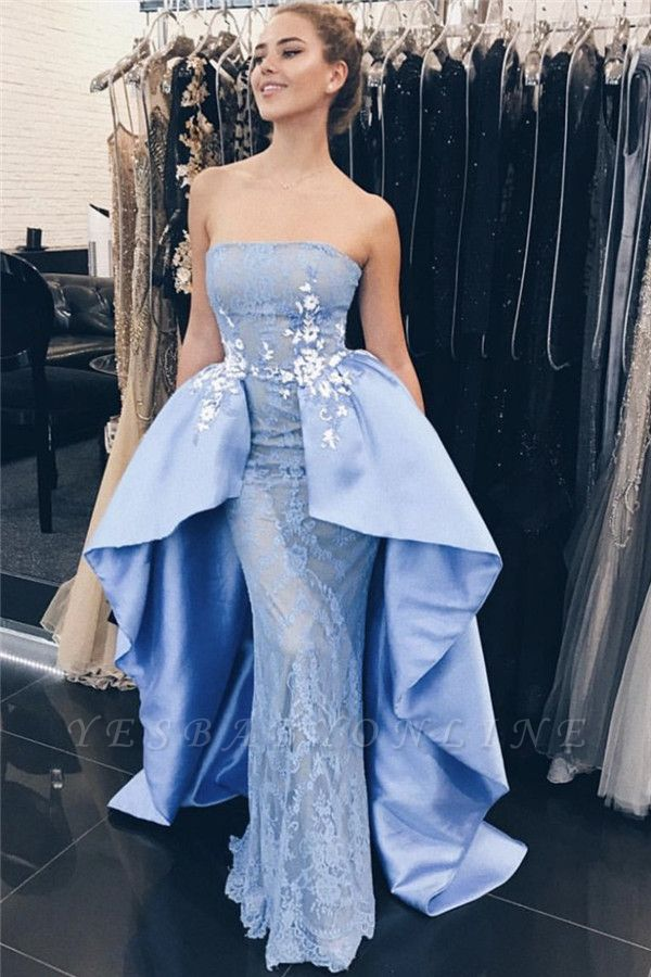 Gorgeous Blue Lace Appliques Strapless Overskirt Sexy Mermaid Prom Dresses