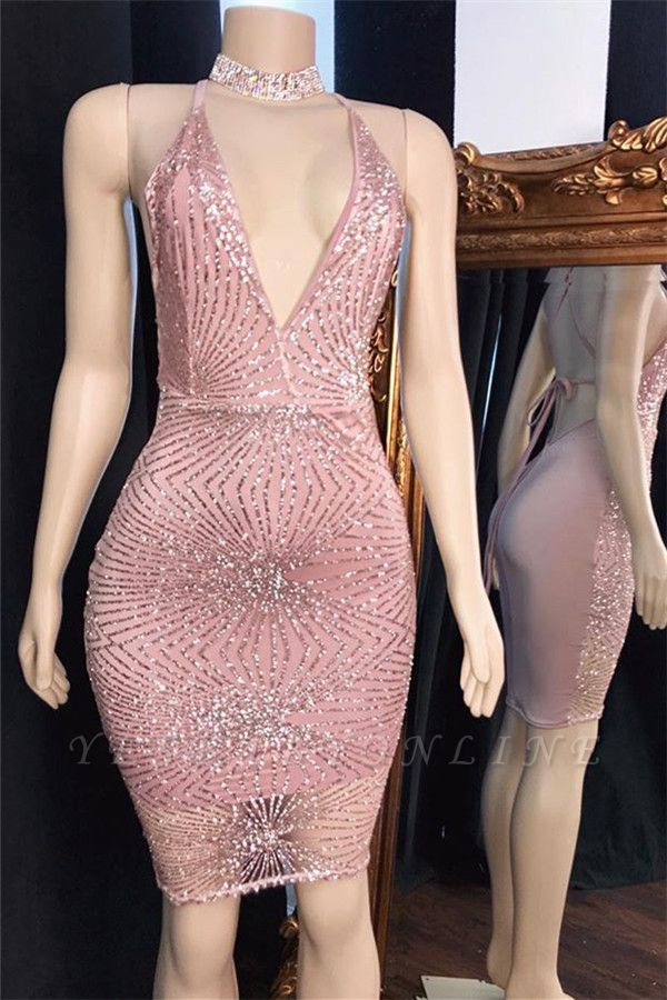 Pink Spaghetti-Straps Backless Mini Length Cocktail Dress