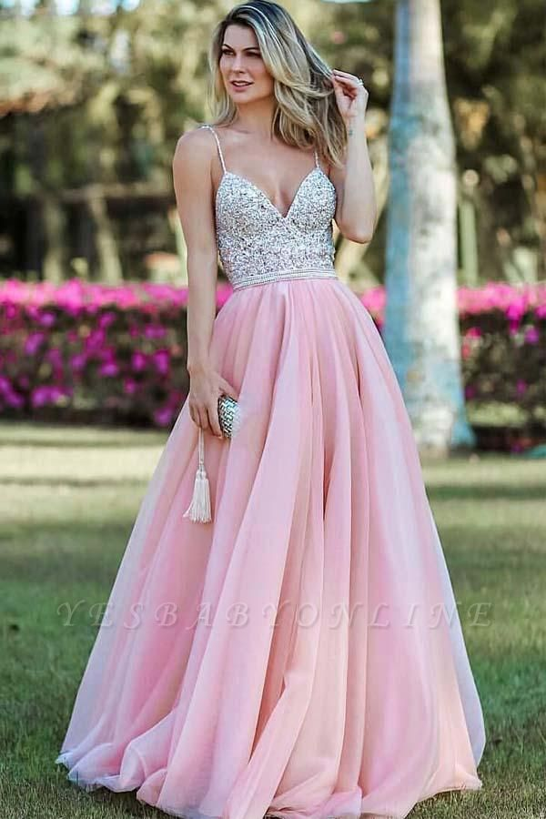 Pink Spaghetti-Straps Appliques Backless A-Line Prom Dresses
