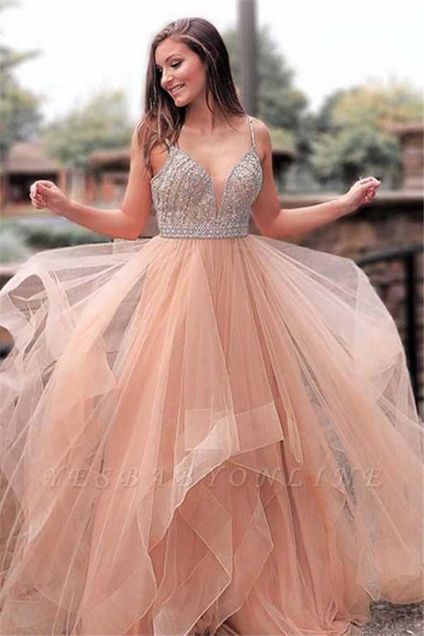 Gorgeous Appliques Spaghetti-Straps  A-Line Prom Dresses