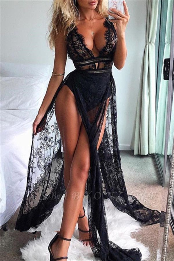 Sexy Straps Lace Side Slit Black Mermaid Prom Dresses