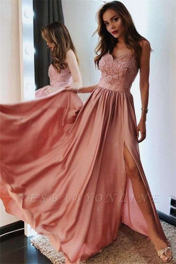 Appliques Spaghetti-Straps Side Slit A-Line Prom Dresses