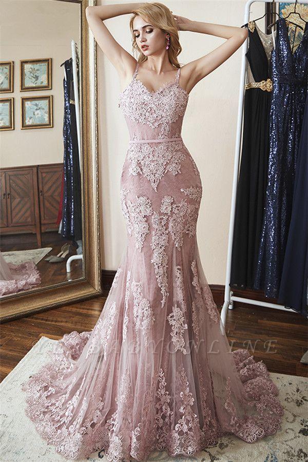 Glamorous Spaghetti-Straps Appliques  Sexy Mermaid Prom Dresses